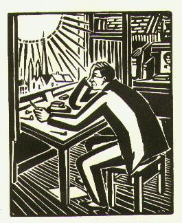"Frans Masereel ""De Zon"" (zelfportret)"